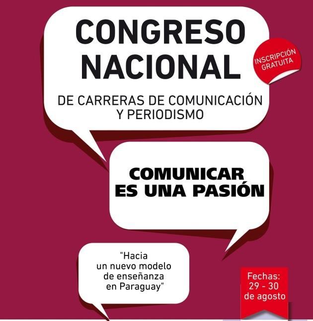 Afiche. Congreso de Carreras de Comunicación y Periodismo. Paraguay