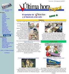 Última Hora Digital. Portada 16 de agosto de 2000